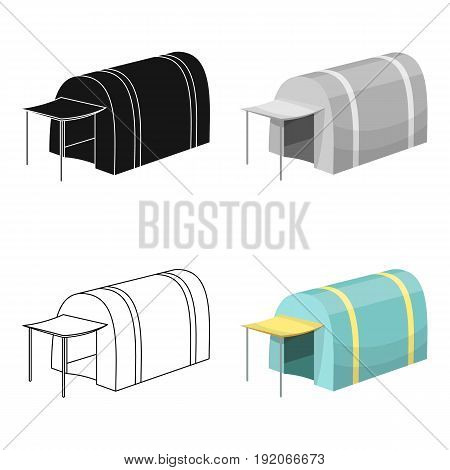 Tent with awning.Tent single icon in cartoon style vector symbol stock illustration .