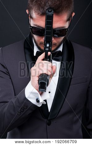 Gangster Male In Elegant Suit With Gun