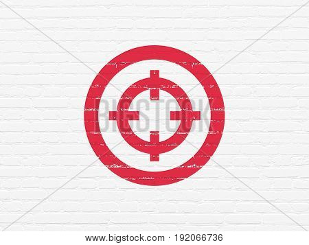 Business concept: Painted red Target icon on White Brick wall background