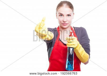 Arrogand and rude housekeeper showing middle finger and insulting somebody isolated on white background poster