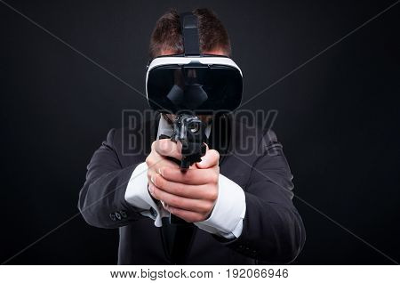 Mafia Guy Aiming At Someone With Gun