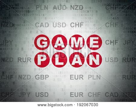 Business concept: Painted red text Game Plan on Digital Data Paper background with Currency