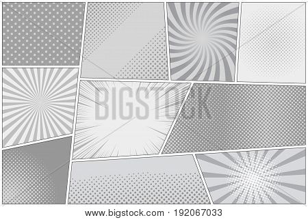 Comic book page background with rays radial dotted halftone effects in gray colors. Pop-art style. Vector illustration