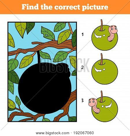 Find The Correct Picture, Game For Children. Worm In Apple
