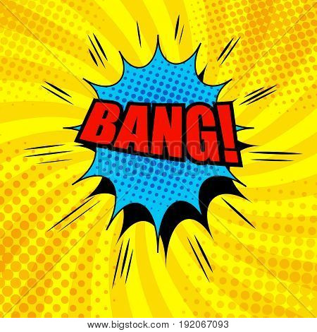 Comic Bang wording template with blue cloud, halftone and sound effects on orange radial background in pop-art style. Vector illustration