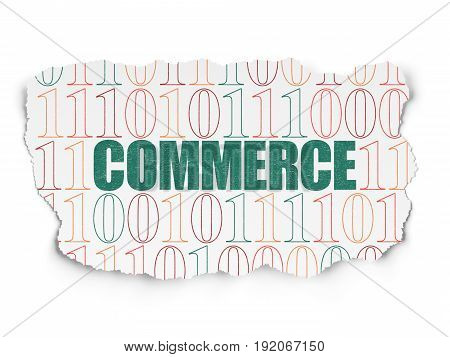 Finance concept: Painted green text Commerce on Torn Paper background with  Binary Code