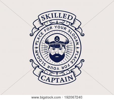 Nautical logo with captain icon. Elegant vintage emblem isolated on white background. Vector template for cruise ship sea travel agency or other marine companies.