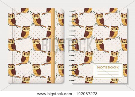 Notebook cover design. Notepad with elastic band and spiral pad. Cute collection with hand drawn owls and polka dot background. Vector set.