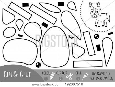 Education paper game for children, Horse. Use scissors and glue to create the image.