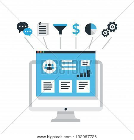 Organization of data on work with clients, CRM concept. Customer Relationship Management vector illustration.