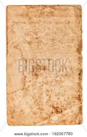 Used paper sheet. Page with edges isolated on white background