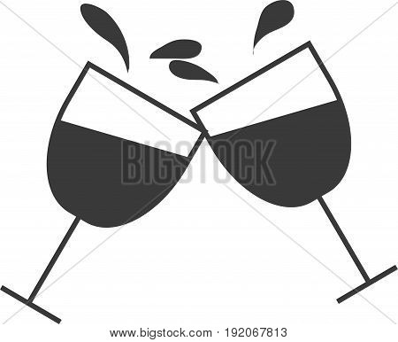 A wine glass with wine in a glass collides at a party.