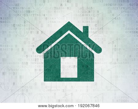 Business concept: Painted green Home icon on Digital Data Paper background with  Binary Code