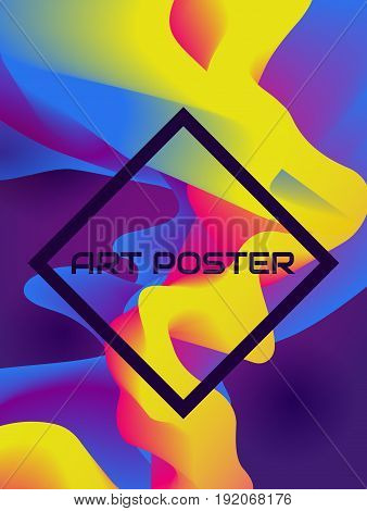Colorful poster with abstract fluid background and frame. Trendy design. Vector template.