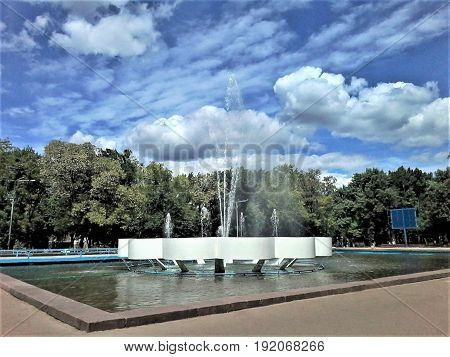 City fountain in the square of trade unions is a favorite place of rest for citizens