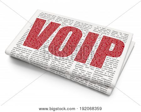 Web development concept: Pixelated red text VOIP on Newspaper background, 3D rendering