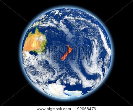 New Zealand In Red From Space