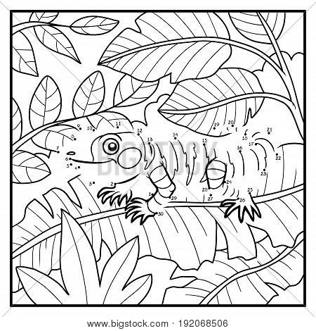 Numbers Game, Dot To Dot Game For Children, Xenosaurus And Background