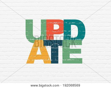 Web design concept: Painted multicolor text Update on White Brick wall background