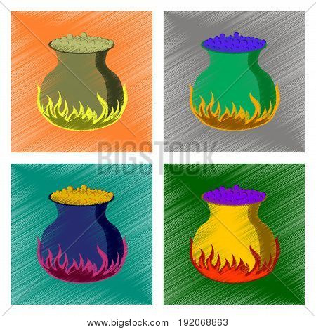 assembly flat shading style icon of potion cauldron