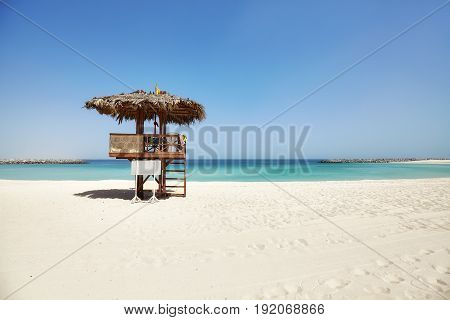 Wooden Lifeguard Tower On A Tropical Beach