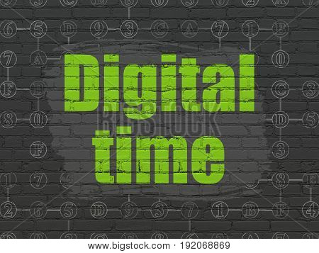 Time concept: Painted green text Digital Time on Black Brick wall background with Scheme Of Hexadecimal Code