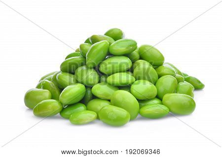 pile of edamame green beans seeds or soybeans isolated on white background