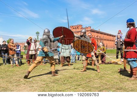 St. Petersburg Russia - 28 May, Battle of the ancient Vikings,28 May, 2017. Knight tournament at the festival of ancient Vikings in St. Petersburg.