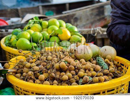 Bunch Of Fresh Longan Fruits On Local Market