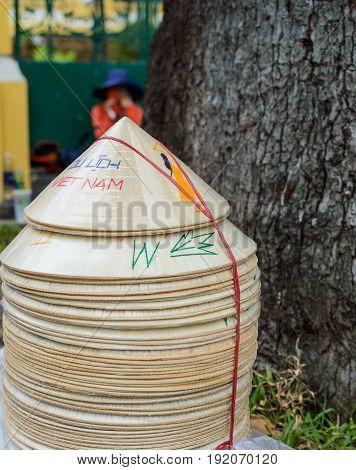 straw hat or conical Vietnamese hats in Vietnam.