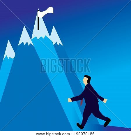 Businessman on his way to the successful point or flag in the highest peak.