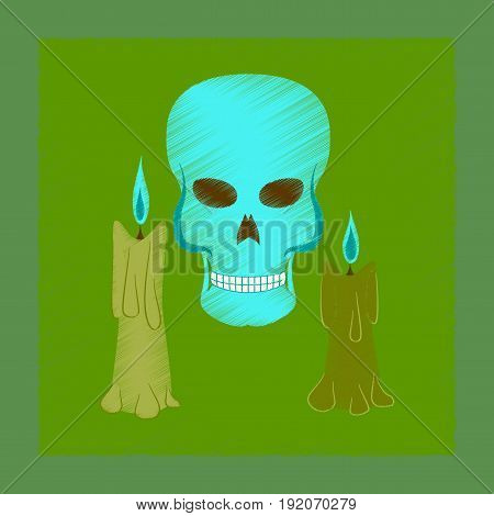 flat shading style icon of candle skull