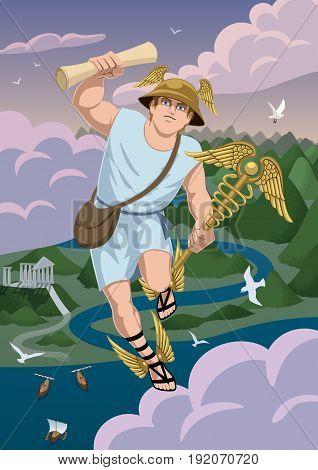 Greek god Hermes carrying message to Zeus.