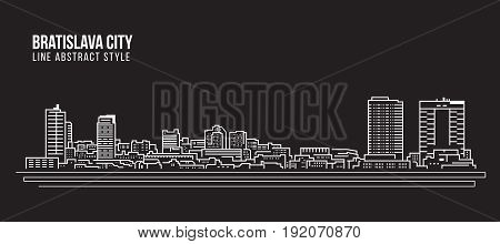 Cityscape Building Line art Vector Illustration design - Bratislava city