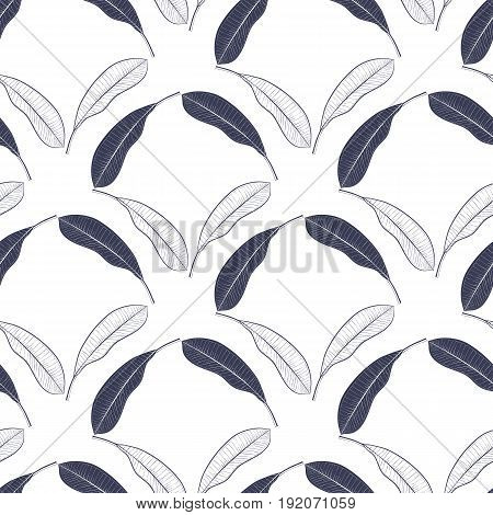 Tropical seamless pattern with mango leaves. Vector hand drawn illustration for printtextilewrapping paper