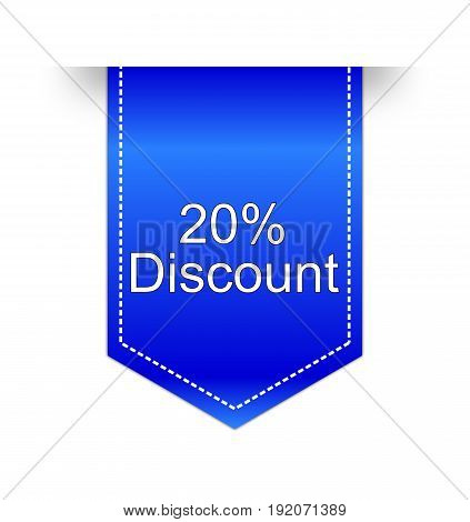 blue 20% Discount label on white background - illustration