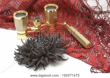Theatrical binoculars of golden color on a red chalet close-up