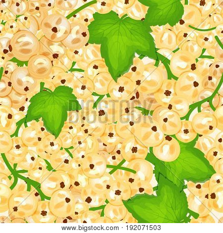 Ripe juicy white currant background. Vector card illustration. Closely spaced fresh berry and leaves. Currant pattern for packaging design food, juice, jam, ice cream, smoothies, detox, cosmetics cream