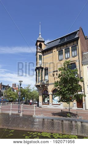 Leeuwarden Netherlands 11 june 2017: famous old pharmacy building in leeuwarden capital of friesland in the netherlands on sunny summer day with blue sky