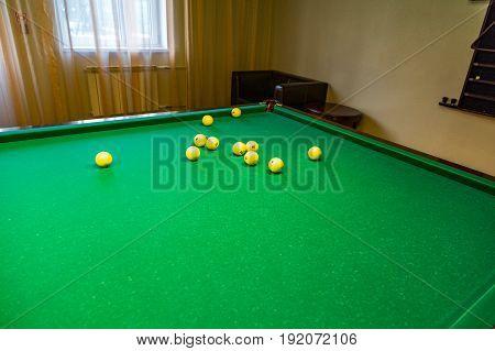 Billiard Table And Balls