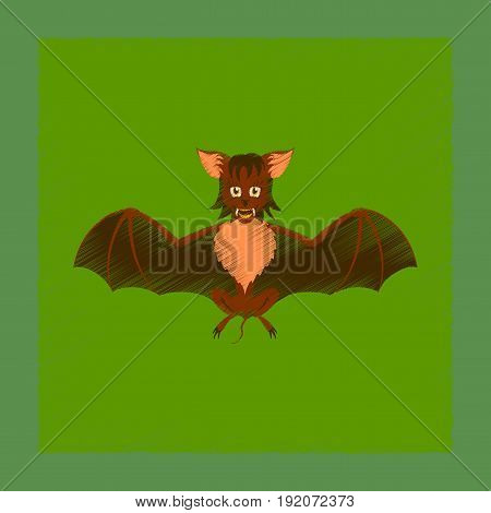 flat shading style icon of cute bat