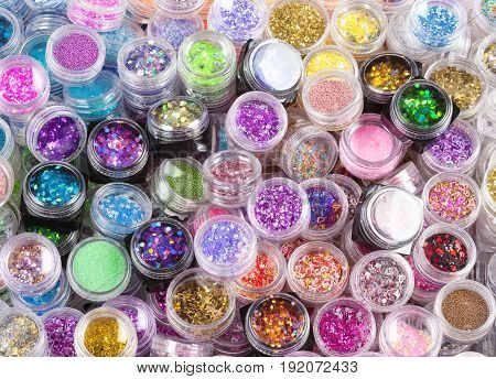 Closeup of Glitter Makeup Colors in a Box.