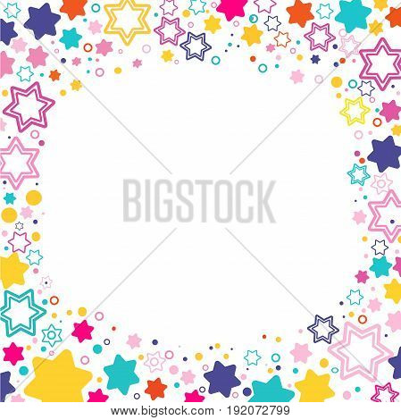 Vector square frame with colored stars David on the white background, sparkles colored symbols - star glitter, stellar flare. vector illustration