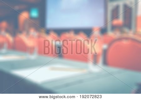Blur Background, Seminar Event Room With Bokeh Light Background,business Concept.