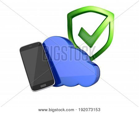 Concept Of Cloud Storage Smartphone With Cloud And With Shield Protection Concept Storage App On Whi
