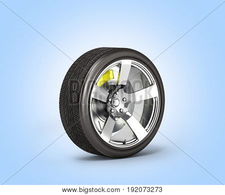 Car Wheel With Brake Isolated On Blue Gradient Background 3D