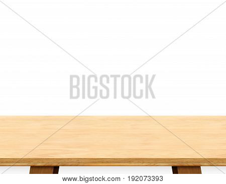 Empty light wood table top isolate on white background Leave space for placement you backgroundTemplate mock up for display of product.