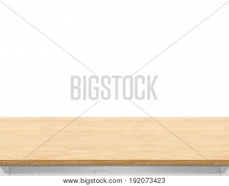 Empty Light Wood Table Top Isolate On White Background, Leave Space For Placement You Background,tem
