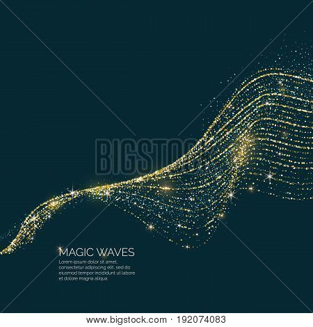 Vector illustration of a magic wave with shining particles of glitter on a dark background. Abstract concept for template design of websites in the beauty industry and entertainment