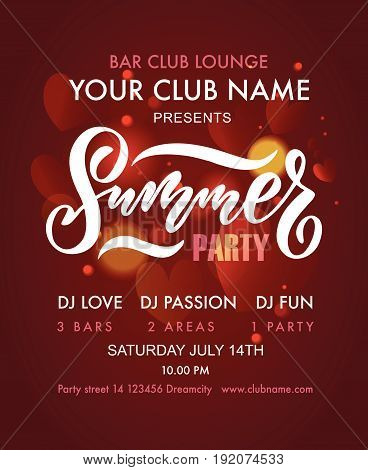 Vector Illustration Of Summer Party Poster. Summer Partys Badge/tag/icon.